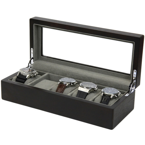 5 Watch Box Espresso Brown Finish Large Compartments High Clearance Glass Window - Main