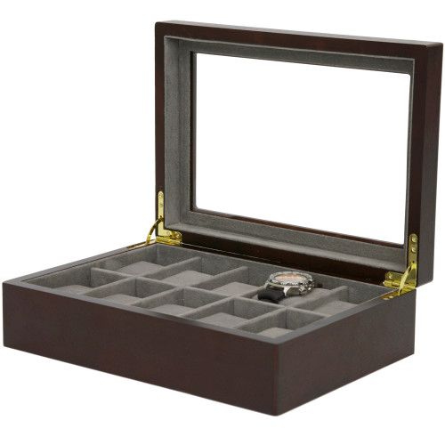 Watch Box in Espresso by Tech Swiss - Store up to 10 Watches - Main