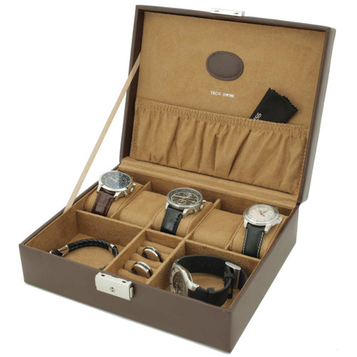 Brown Leather Watch Box Valet | Tech Swiss | Main