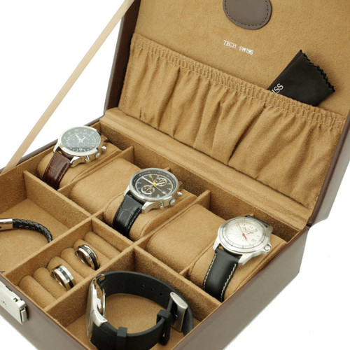 Brown Leather Watch Box Valet | Tech Swiss | Interior
