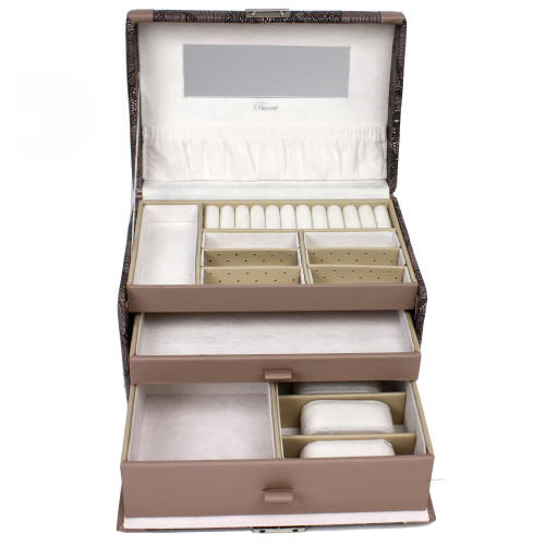 Jewelry Box Case in Fancy Lacey Motif in Mauve - Main