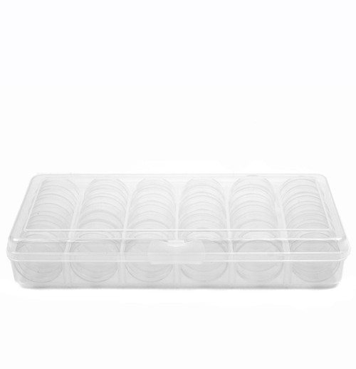 Storage Box Divider Tray 30 Round Stackable Clear Containers Multi-Functional Organizer for Small Items - Main