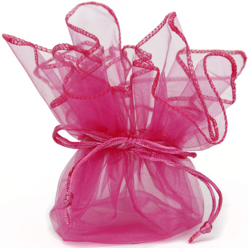 10 Organza Fabric Gift Bags Pouches Party Favor Gifts Packaging Neon Hot Pink-12 inch square - Main
