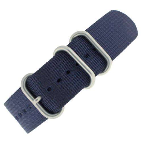 Watch Band Nylon One Piece Navy Blue Stainless Steel Buckle