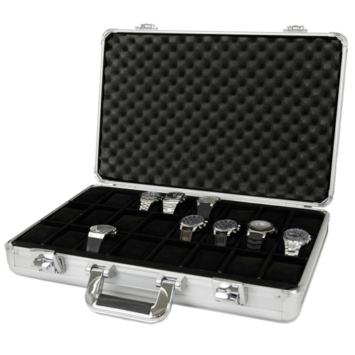 Watch Case Aluminum BriefCase Design for 24 Large Watches