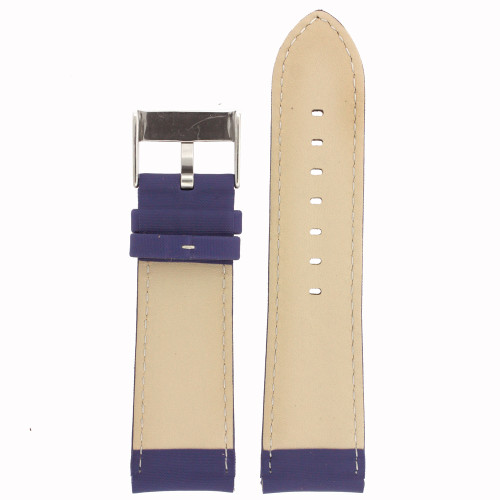 Blue Nylon Watch Band with Leather Lining by Tech Swiss - Bottom View - Main