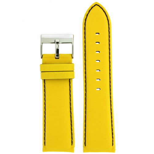 Yellow Nylon and Leather Watch Band - Top View