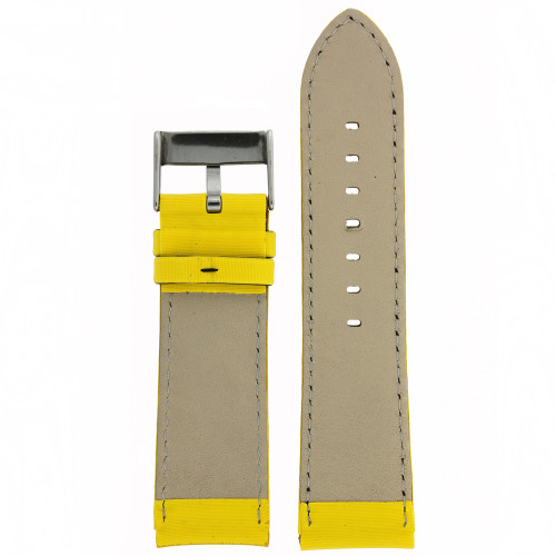 Yellow Nylon and Leather Watch Band - Bottom View - Main