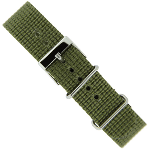 Watch Band Nylon One-Piece Sport Strap Olive Green Stainless Buckle 20mm - Main