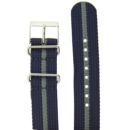 Watch Band Nylon One-Piece Sport Strap Navy Grey Stripe Stainless Buckle 20mm
