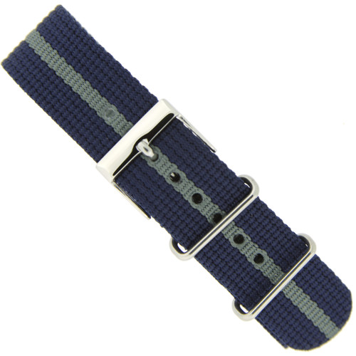 Watch Band Nylon One-Piece Sport Strap Navy Grey Stripe Stainless Buckle 20mm - Main