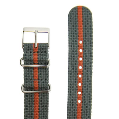 Watch Band Nylon One-Piece Sport Strap Orange Grey Stripe Stainless Buckle 20 mm