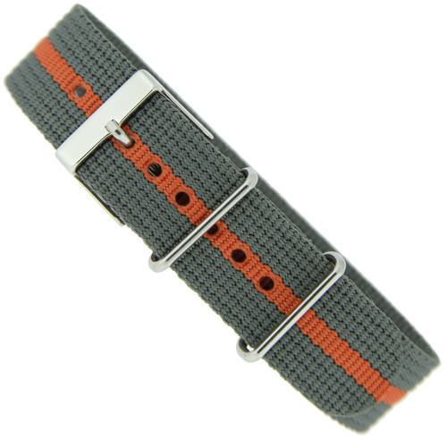 Watch Band Nylon One-Piece Sport Strap Orange Grey Stripe Stainless Buckle 20 mm