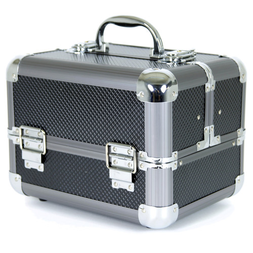 Aluminum Makeup Train Case With Polka Dot Lining to Store Organize Makeup Jewels