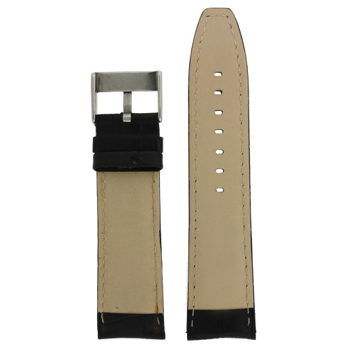 Black Leather Watch Band with Red Stitching - Bottom View