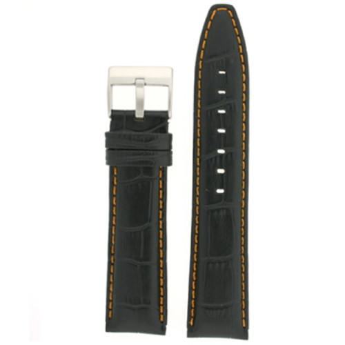 Black Leather Watch Band with Crocodile Grain with Orange Stitching - Top View