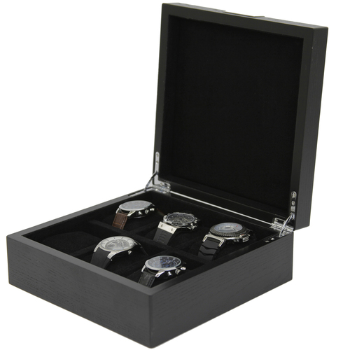 6 Watch Box Engravable Plate Wood Black Finish - Main