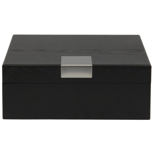 6 Watch Box Engravable Plate Wood Black Finish - Front