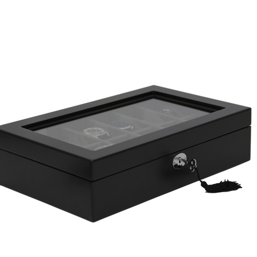 Watch Box Black 12 Watch Glass Top Tech Swiss TSBOXBLK12 - Main