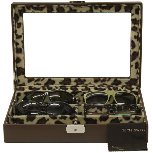 6 Eyeglasses Sunglasses Storage Case Leather Brown Leopard - Main