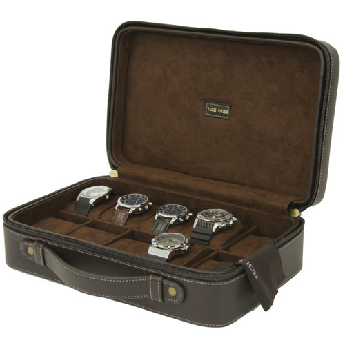 10 Watch Case Compact Travel Brief Case Brown Tech Swiss