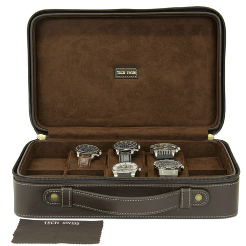10 Watch Case Compact Travel BriefCase Tech Swiss TS5974BRN - Main