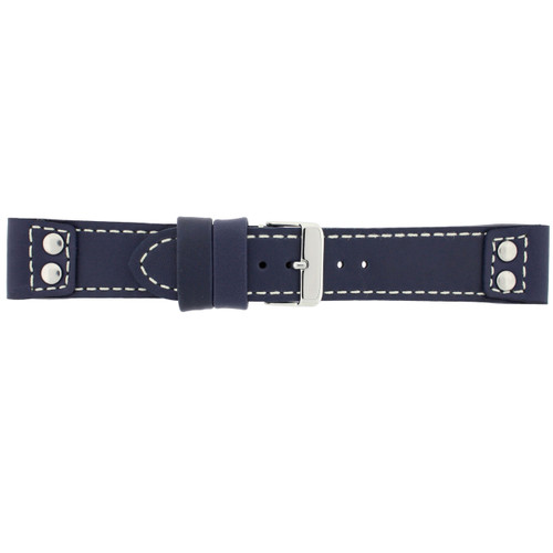 Watch Band Navy Blue Pilot Style White Stitching - Main