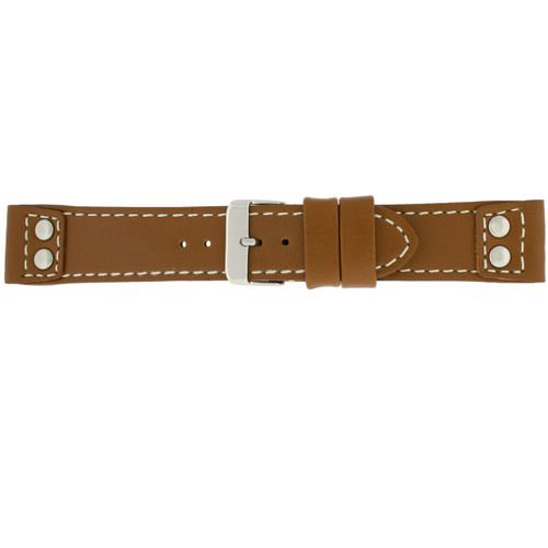Watch Band Navy Tan Brown Pilot Style White Stitching - Main