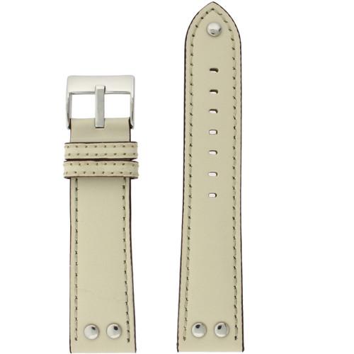 Watch Band Beige Pilot Style White Stitching - Main