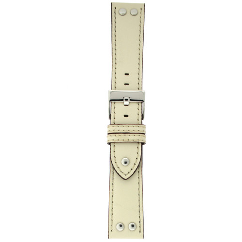 Watch Band Beige Pilot Style White Stitching