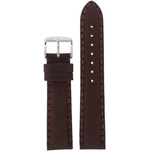 Brown Leather Watch Band with Stitching - Top View