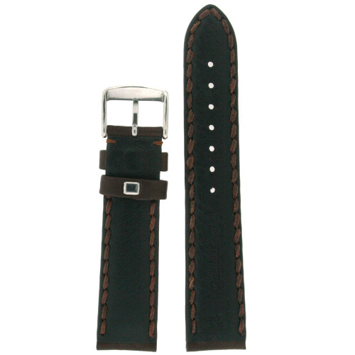 Brown Leather Watch Band with Stitching - Bottom View - Main