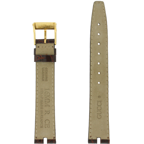 Gucci Watch Band 16mm Brown Crocodiledile Grain model 2000M - Main