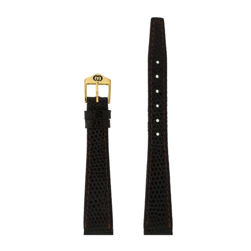 Gucci Watch Band 14mm Brown Genuine Lizard 7200L