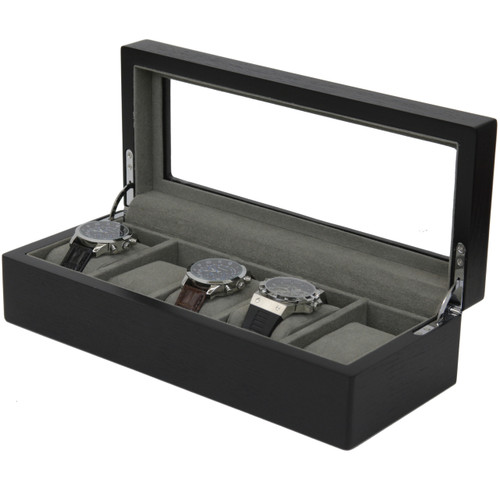 5 Watch Box Black Ash Finish Large Compartments High Clearance Glass Window