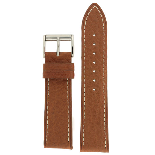 Watch Band Leather Tan White Stitching Roller Buckle