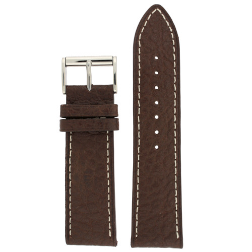 Watch Band Leather Brown White Stitching Roller Buckle