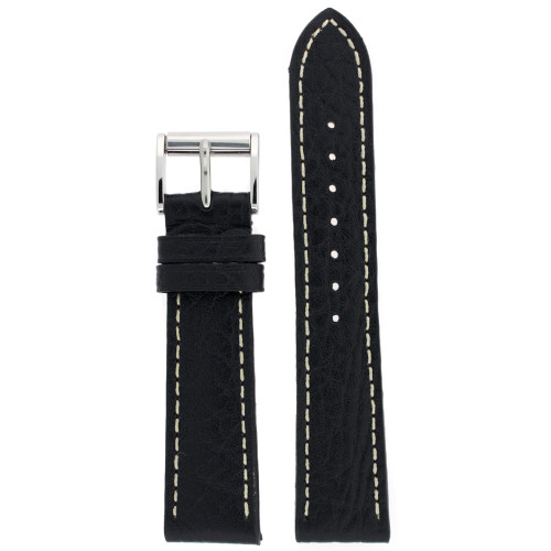 Watch Band Leather Black White Stitching Roller Buckle