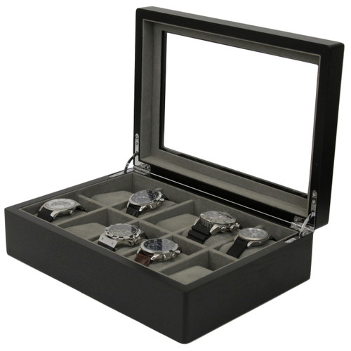 10 Watch Box Wood Black Ash Finish Luxury Case