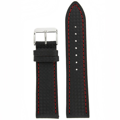 Black Leather Watch Band with Carbon Fiber Print in Black - Top View