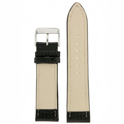 Black Leather Watch Band with Carbon Fiber Print in Black - Bottom View
