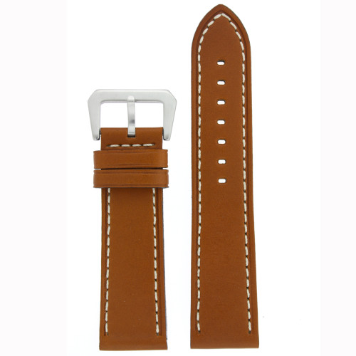 Watch Band Leather Brown Tan Stitching Heavy Buckle