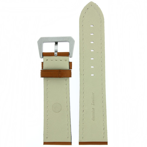 Watch Band Leather Brown Tan Stitching Heavy Buckle - Main