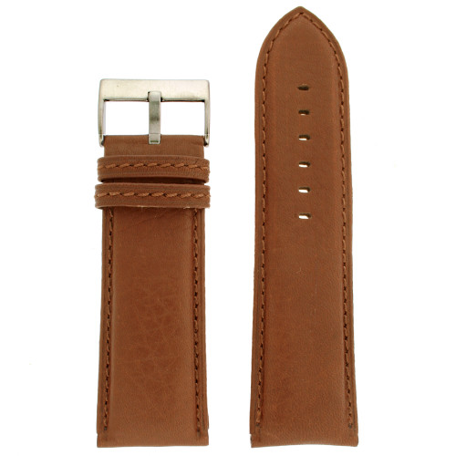 Leather watch band extra wide in Tan - front view