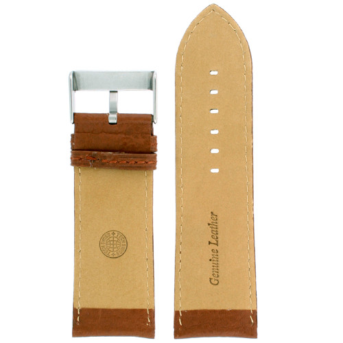 Leather watch band extra wide in Tan - interior view