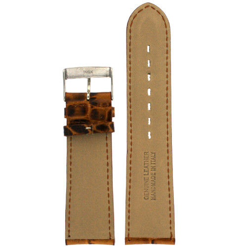 Leather Watch Band in Brown Crocodiledile Grain - Bottom View - Main