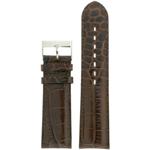 Dark Brown Leather watch band with crocodile grain - front view