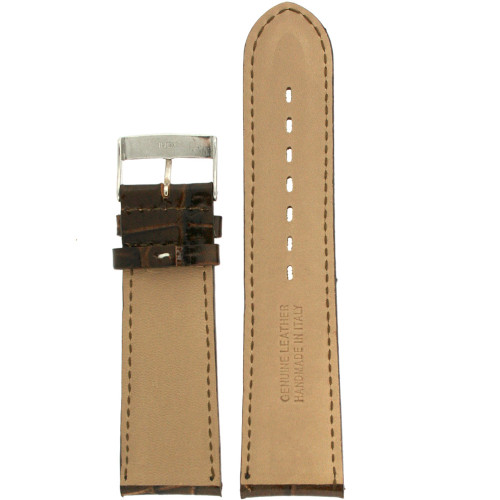 Dark Brown Leather watch band with Crocodiledile grain - interior view - Main