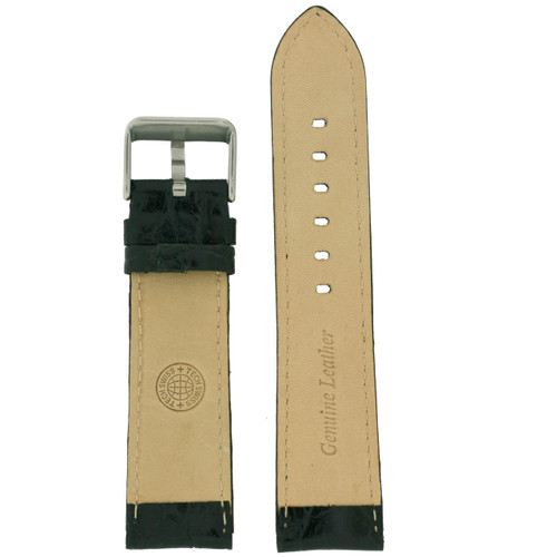 Black Leather Watch Band in Black by Tech Swiss - Interior View - Main