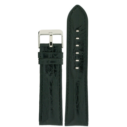 Black Leather Watch Band in Black by Tech Swiss - Top View